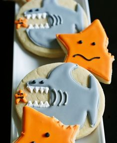 Shark Cookies - haha!  Would be fun for a beach themed/shark party