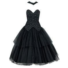 1950's Lilli Diamond Black Beaded Lace Tulle Halter Party Dress | From a collection of rare vintage day dresses at https://www.1stdibs.com/fashion/clothing/day-dresses/