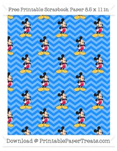 Dodger Blue Chevron Large  Mickey Mouse Pattern Paper