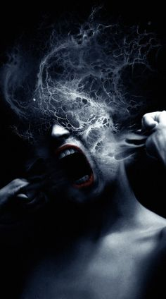 The flesh burned and caused a blue vapor.  She pulled at the scarring making it dissolve more freely.  She thrashed violently and her body did contort....all this shit so she didn't have to give her book report.