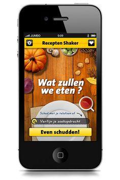 Recepten Shaker app - Jumbo Supermarkten voor mensen zonder inspiratie. (ingredienten moeten na het shaken nog wel in huis gehaald worden)