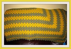 Hand Crocheted Twin Size Afghan in Yellow and by NortherNights, $50.00