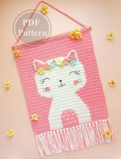 Crochet Wall Art, Crochet Wall Hangings, Crochet Home Decor, Tapestry Crochet, Crochet Sheep, Crochet Cross, Nursery Wall Decor, Nursery Room, Room Decor