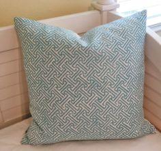 Quadrille China Seas Java Java Aqua Designer Pillow Cover - Square, Euro and Lumbar Sizes
