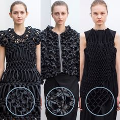 Smocking, Macramé and Modular Patterns at Noir Kei Ninomiya | The Cutting Class. noir kei ninomiya, AW15, Paris, Image 1. Different individual units repeated to create intricate designs.