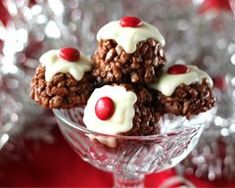 Mars Bar and Rice Krispie Christmas Crackle Puddings