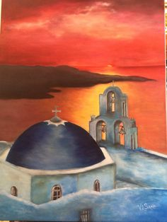 Santorini Sunset originally painted canvas by Viktoriyasshop, $227.00