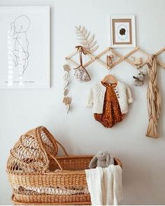 Ahhhhh those vintage feels! Cane bassinet, wooden toys, beautiful vintage fabrics too good! Our Organic Stacker keeps popping up hanging around on these beautiful wall hangers. Makes quite a cute deco