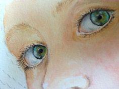 11) Col titanium white puro fate delle piccole lineette sopra alla pupilla. Dipingete le ciglia con il liner e il lamp ebony black diluito e le sopracciglia prima col il raw sienna e poi con il burnt umber sempre diluiti
