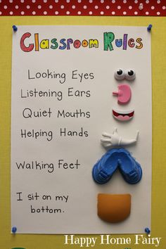 classroom rules using mr. Potato head parts! Looking eyes Listening ears Quiet mouths Helping hands Walking feet I sit on my bottom Love it! Source: happyhome fairy blog