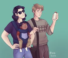 Sirius and Remus with baby Harry - formula: mixed baby: carried uncles: prepared