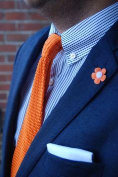 Definitely going with blue and orange now. [Navy (linen) sport coat, blue stripe shirt, orange knit tie]