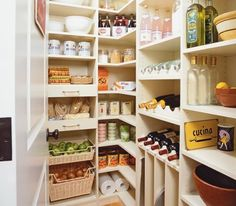 How To Organize A Kitchen Pantry – Pantry Closet Or Walk In Pantry Tips Let us transFORM a small closet to a spacious walk in pantry. In this custom-designed melamine kitchen pantry in almondine we used wine racks, tray dividers and space efficient wrap a Kitchen Ikea, Kitchen Pantry Design, Kitchen Organization Pantry, Kitchen Pantry Cabinets, Kitchen Storage Solutions, Diy Kitchen Storage, Smart Kitchen, Diy Storage, New Kitchen