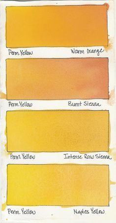 Watercolor Mixes  Permanent Yellow plus: Warm Orange Burnt Sienna Intense Raw Sienna Naples Yellow
