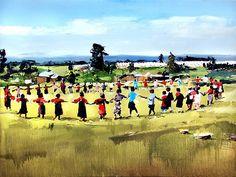 """Africa. Circle of kids -David Shingler 24""""x32"""" Oil"""