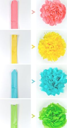 Crafts Tissue paper flowers make a gorgeous event decor with a big impact—think weddings, baby showers, bridal showers and more! Learn how to make easy tissue paper flowers, as well as different methods for cutting the petals to create four unique styles. Tissue Paper Crafts, Paper Flowers Craft, Flower Crafts, Diy Flowers, Tissue Paper Pom Poms Diy, Paper Paper, Tissue Paper Decorations, Tissue Paper Flowers Easy, How To Make Paper Flowers