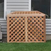 something like this around air conditioner....Found it at Wayfair - 4ft. H x 3ft. W x 3ft. D Air Conditioner/Generator Enclosure