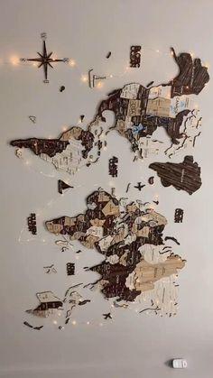World Map Decor 3D DIY Wall Decor DIY Wall Art Wooden Decor Home Decor Travel Poster Travel Journal
