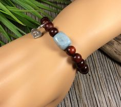 Rosewood 8mm bead Stretch Bracelet-Aquamarine smooth Nugget-Fine Sterling Charm and Bead by IsaStone on Etsy