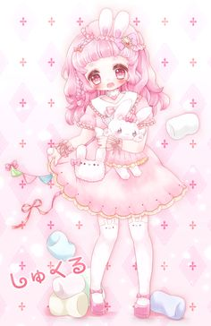 ✮ ANIME ART ✮ bunny girl. . .rabbit girl. . .rabbit ears. . .rabbit plush toy. . .purse. . .sweet lolita dress. . .lace. . .ribbons. . .pink hair. . .bonnet. . .stockings. . .candy. . .marshmallows. . .cute. . .pastel. . .kawaii