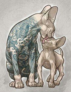 Character Art, Character Design, Sphinx Cat, Tattoo Zeichnungen, Japanese Tattoo Art, Cat Drawing, Cat Art, Art Sketches, Art Reference