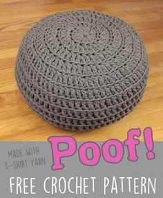 free t shirt yarn zpagetti poof ottoman Crochet Home, Crochet Gifts, Crochet Yarn, Crochet Stitches, Free Crochet, Crotchet, Crochet Pouf Pattern, Crochet Pillow Patterns Free, Crochet Cushions