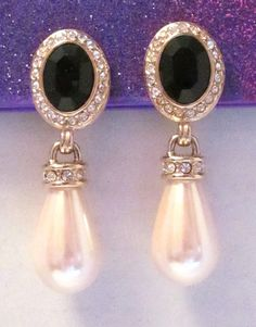 Pearl Rhinestone and Black Glass Clip Earrings by MullerGlass $35