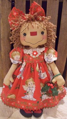Primitive Raggedy Ann Doll Annie 039 s Barefoot Angel Recycled Vintage Baby Dress | eBay