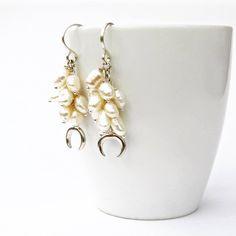 Crescent Moon Freshwater Pearl Cascade Earrings in Sterling by getawaygirl on Etsy