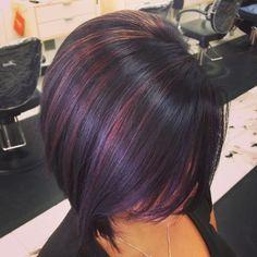 purple highlights brunette