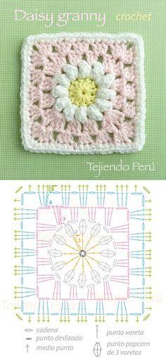 Daisy granny square pattern (diagram)! Cuadrado con flor de margarita tejido a crochet (incluye diagrama)!: