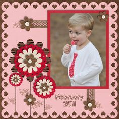 February 2011 - Scrapbook.com  I love this layout!!  I am picturing my granddaughter Savannah this way.....