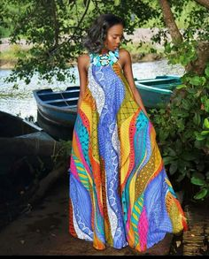 Online Hub For Fashion Beauty And Health: Stylishly Simple Ankara Long Gown Dress For The Di. African Fashion Designers, African Inspired Fashion, African Print Fashion, Africa Fashion, Ethnic Fashion, African Print Dresses, African Fashion Dresses, African Dress, African Clothes