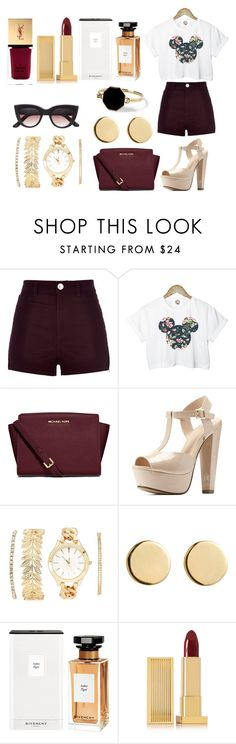 """""""Gswq"""" by southerncomfort ❤ liked on Polyvore featuring River Island, Retrò, MICHAEL Michael Kors, Charlotte Russe, Loren Stewart, Givenchy, Lipstick Queen, Yves Saint Laurent and Marc by Marc Jacobs"""
