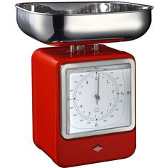 Wesco Retro Scale with Clock - Red (805 MAD) ❤ liked on Polyvore featuring kitchen and red