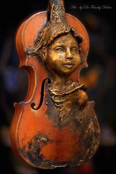 Violin Spirit. Original Sculpture by Award Winning Fae Factory