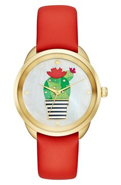 Wear a watch with personality. This cacti emblazoned red and gold toned one is prickly perfect