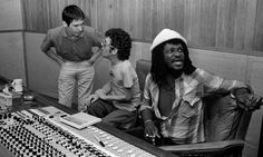Ian Dury and Chas Jankel with Sly Dunbar at Compass Point Studios