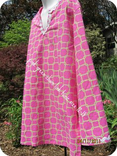 Teen Tunic in Pink Green Chainlink Cotton Fabric by hammies, $18.00