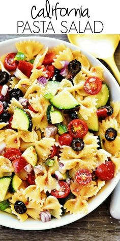 California Pasta Salad is fresh, healthy and packed full of flavor! I like to se… California Pasta Salad is fresh, healthy and packed full of flavor! I like to serve this amazing pasta salad at summer barbecues and potlucks. It's always a hit! Healthy Pasta Salad, Easy Pasta Salad Recipe, Summer Pasta Salad, Healthy Pastas, Healthy Salad Recipes, Cold Pasta Salads, Pasta Salad Recipes Cold, Healthy Dishes, Simple Pasta Salad