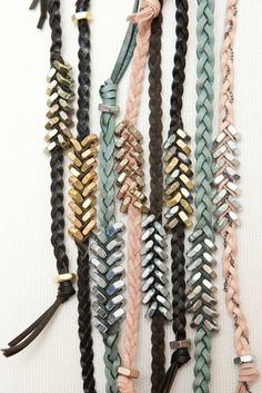Lots of DIY bracelet ideas. This one: Braid leather string and on each side add a hex nut to the string to make a chevron design.