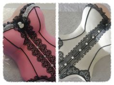- The Pink corset is marzipan with sweet lace, the white is fondant.