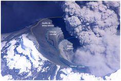 Informe Especial Cotopaxi 14 - 2015 Figura 3: Foto aérea desde el SE del cráter del volcán, se han anotado las zonas observables del glaciar circular, del anillo de arena interno y del cráter interno (Foto: P. Ramón IG/EPN).