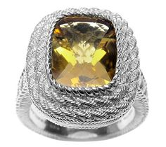 Judith Ripka Sterling Cushion Cut Citrine Ring - J314374 — QVC.com