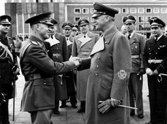 Visit of Marshal Ion Antonescu to Adolf Hitler at Castle Klessheim in Salzburg. Foreign Minister of the Third Reich, Joachim von Ribbentrop (right) bids farewell to the Marshal at the airport. - 14 April 1943.
