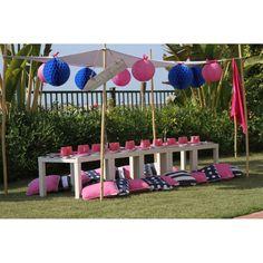 Preppy Nautical Girl Birthday Party Printables Table Setting