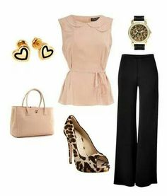 I like the classy top and the wide flow pants. I would like animal print shoes, but not with tall heels.