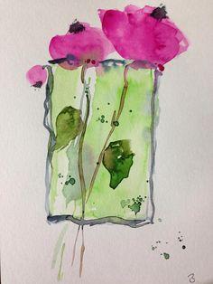 ORIGINAL AQUARELL Aquarellmalerei Bild Blumen abstrackt
