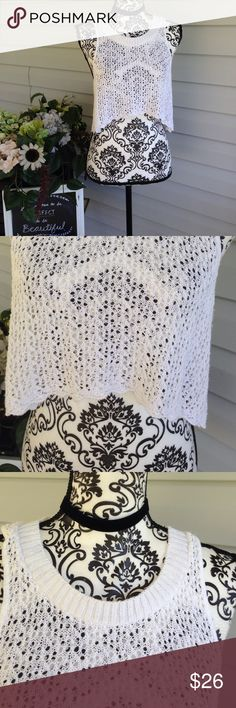 White Crochet Derek Heart Crop Top Large Size large, by Derek heart, crewneck, crocheted knit crop top. No stains or flaws. Free gift with purchase Derek Heart Tops Crop Tops