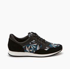Runner - Crystal Snorkel Blue, Beige, Black Printed Neoprene, Nappa, Split Suede